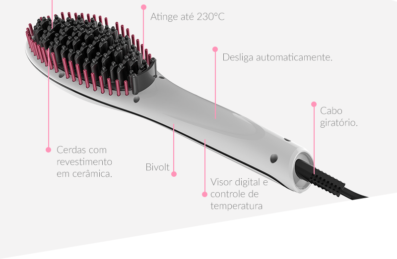 Pontas anti térmicas, atinge até 230°C, cerdas com revestimento em cerâmica, bivolt, desligamento automático e cabo giratório